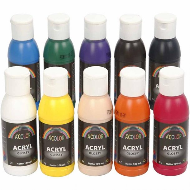A-color akrylmaling - sortiment, 10x100 ml