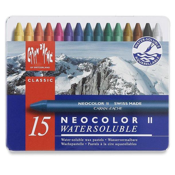 Caran D'ache Neocolor II vokspastel, 15 farver